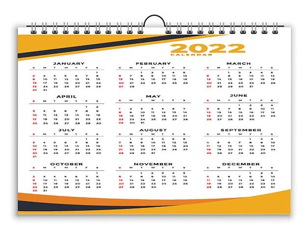 Szablon projektu kalendarza czarno-żółtego w stylu geometrycznym 2022