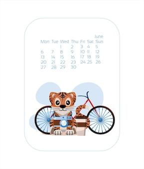 Szablon projektu kalendarza na rok niebieskiego tygrysa chiński nowy rok czerwiec wektor stock płaski ilustracji...