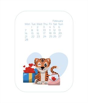 Szablon projektu kalendarza na rok niebieskiego tygrysa chiński nowy rok luty wektor stock płaski ilustr...
