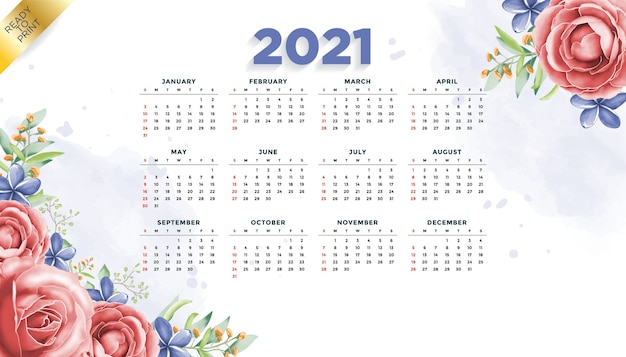 Szablon projektu kalendarza nowego roku 2021 w stylu kwiatowym, gotowy do druku