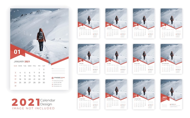 Szablon projektu kalendarza ściennego 2021