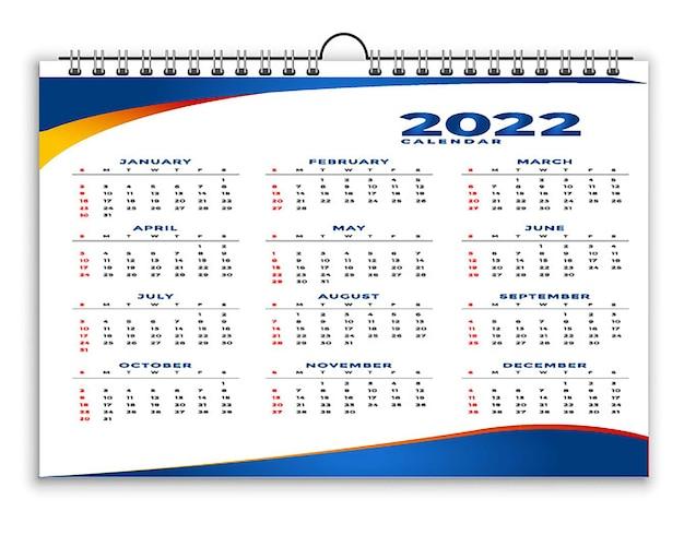 Szablon projektu kalendarza w stylu geometrycznym 2022 magenta niebieski
