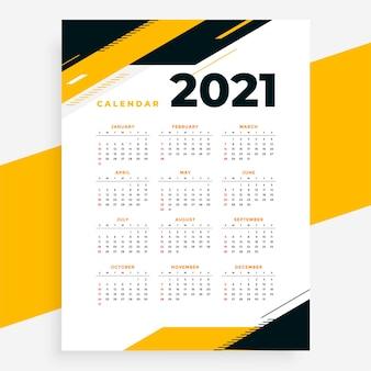 Szablon projektu kalendarza żółty 2021 w stylu geometrycznym