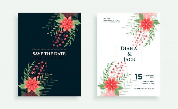 Szablon projektu karta zaproszenie ślubne styl kwiat