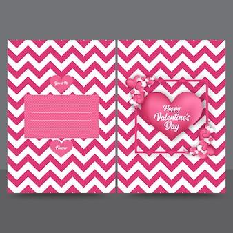 Szablon projektu karty z pozdrowieniami valentine różowe zygzak