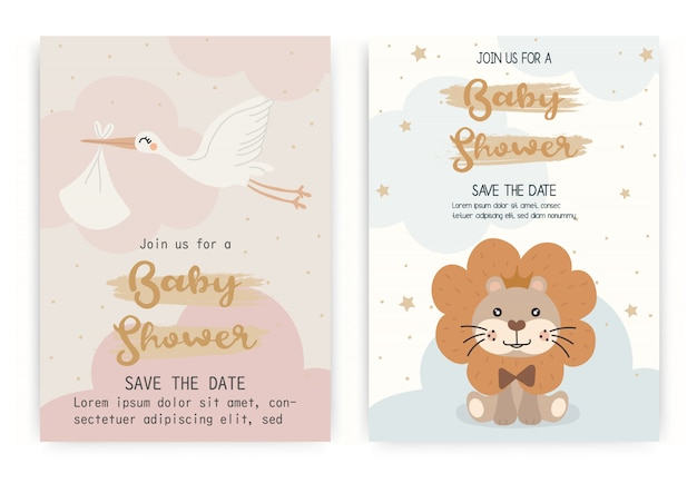 Szablon projektu karty zaproszenia baby shower.