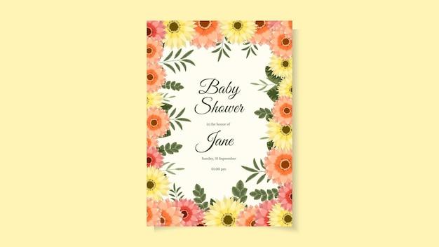 Szablon projektu karty zaproszenia na baby shower układ zaproszenia na baby shower z uroczymi żółtymi różowymi kwiatami