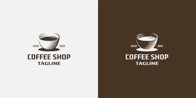 Szablon projektu kawiarni lub kawiarni ikona gorącej filiżanki kawy z parą