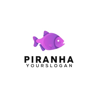 Szablon projektu kolorowe logo ryb pirania
