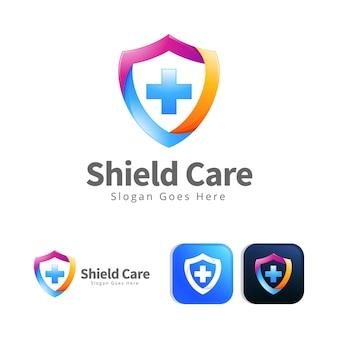 Szablon projektu koncepcja logo opieki nowoczesnej tarczy