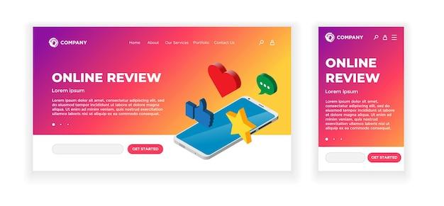Szablon projektu koncepcji strony docelowej. motyw recenzji online. smartfon ze znakami oceny opinii - kciuk w górę, serce, wiadomość, gwiazdka. aplikacja mobilna, interfejs użytkownika, ux, witryna. ilustracja wektorowa eps10
