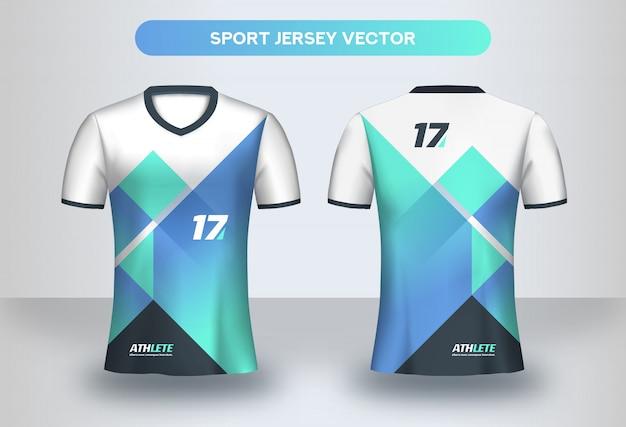 Szablon projektu koszulki piłkarskie. widok z przodu i tyłu koszulki munduru klubu piłkarskiego.