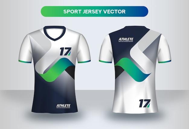 Szablon projektu koszulki piłkarskiej. corporate design, koszulka piłkarska, widok z przodu iz tyłu.