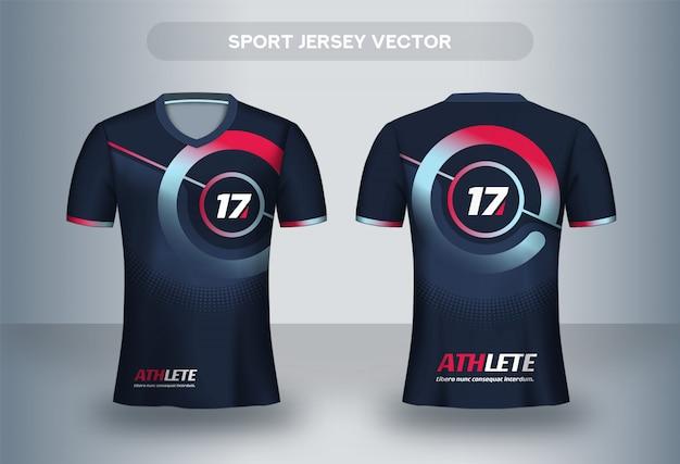 Szablon projektu koszulki piłkarskiej. t-shirt mundurowy z przodu iz tyłu.