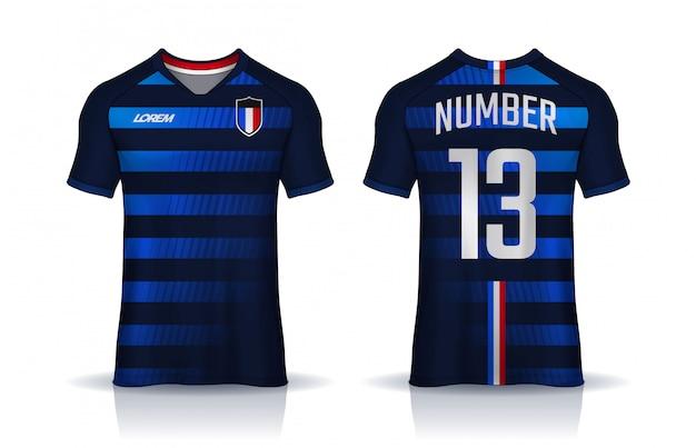 Szablon projektu koszulki sportowe, koszulka piłkarska dla klubu piłkarskiego. jednolity widok z przodu iz tyłu.