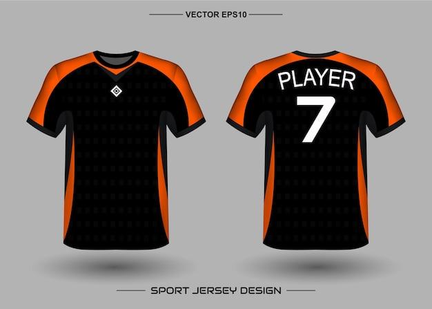 Szablon projektu koszulki sportowej dla drużyny piłkarskiej w kolorze czarnym i pomarańczowym