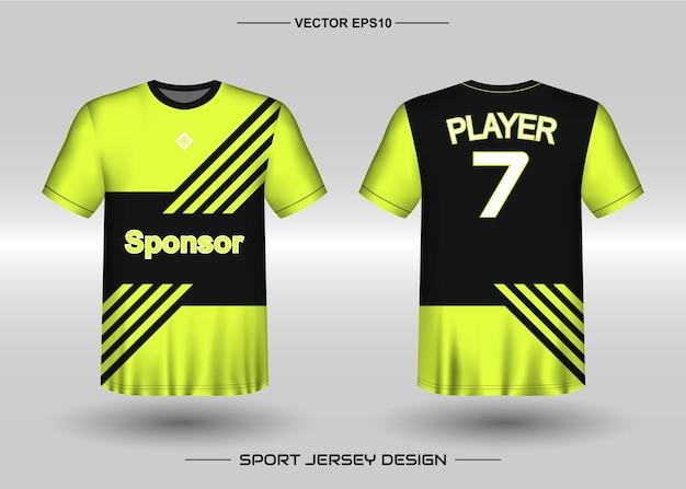 Szablon projektu koszulki sportowej dla drużyny piłkarskiej w kolorze czarnym i żółtym