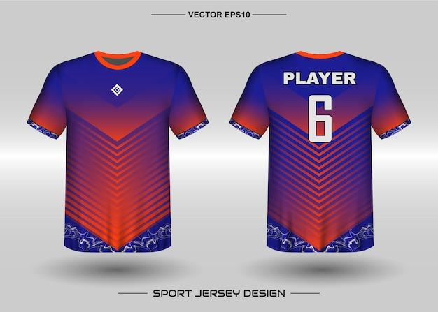 Szablon projektu koszulki sportowej dla drużyny piłkarskiej w kolorze niebieskim i pomarańczowym