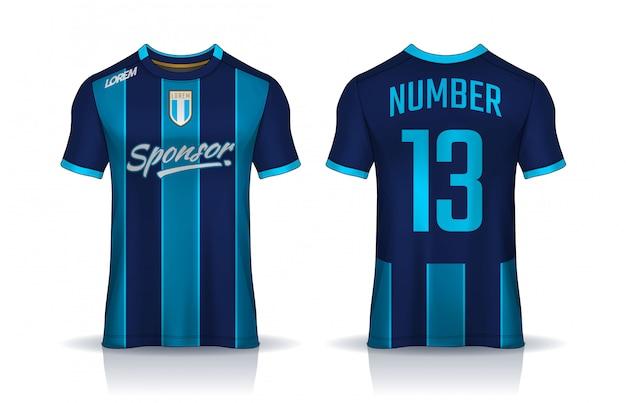 Szablon projektu koszulki sportowej, makieta koszulki piłkarskiej dla klubu piłkarskiego. jednolity widok z przodu iz tyłu.