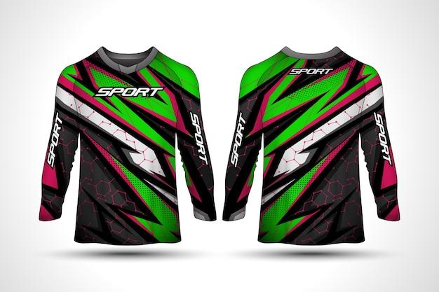 Szablon projektu koszulki z długim rękawem, sportowa koszulka motocyklowa wyścigowa