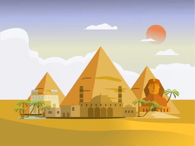 Szablon projektu kraju egipt ilustracja