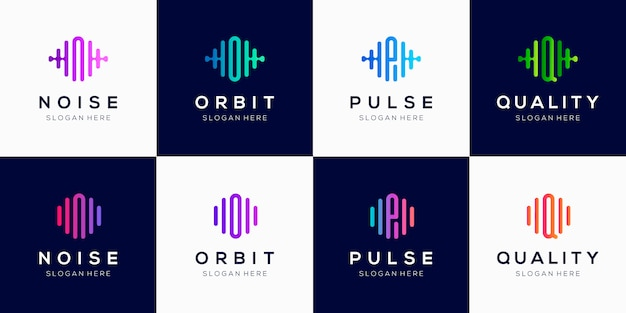 Szablon projektu kreatywnego logo monogram z elementem puls.