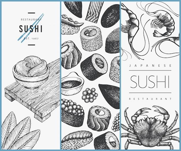 Szablon projektu kuchni japońskiej. ręcznie rysowane ilustracje sushi. azjatycki karmowy tło w stylu retro.