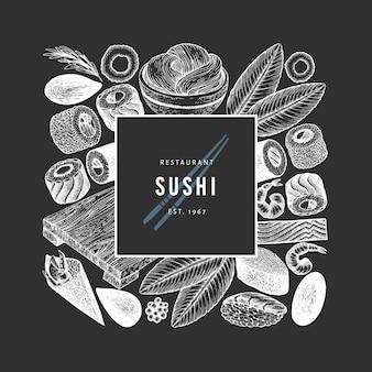 Szablon projektu kuchni japońskiej. suszi ręka rysująca wektorowa ilustracja na kredowej desce. azjatycki karmowy tło w stylu retro.