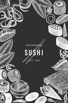 Szablon projektu kuchni japońskiej. suszi ręka rysująca wektorowa ilustracja na kredowej desce. azjatyckie jedzenie w stylu retro