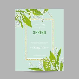 Szablon projektu kwiatowy wiosna ze złotą ramą na zaproszenie na ślub, kartkę z życzeniami, sprzedaż transparent, plakat, afisz, okładka. wiosna tło z kwiatami lilii. ilustracja wektorowa