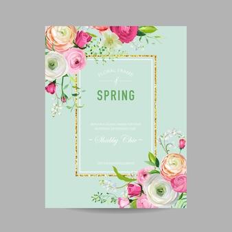 Szablon projektu kwiatowy wiosna ze złotą ramą na zaproszenie na ślub, kartkę z życzeniami, sprzedaż transparent, plakat, afisz, okładka. wiosna tło z różowymi kwiatami. ilustracja wektorowa
