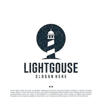 Szablon projektu latarni morskiej, plaży, logo