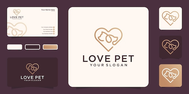 Szablon projektu linii sztuki logo miłość zwierząt domowych i wizytówki