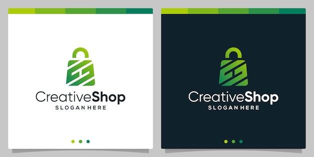 Szablon projektu logo abstrakcyjna torba na zakupy z symbolem początkowej litery h. wektor premium