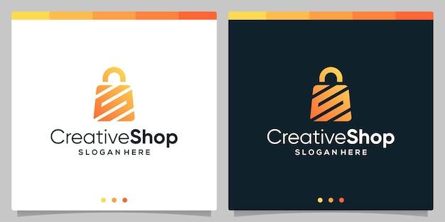 Szablon projektu logo abstrakcyjna torba na zakupy z symbolem początkowej litery s. wektor premium