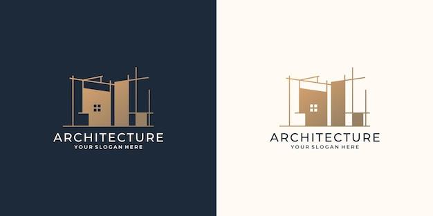 Szablon projektu logo architektury. minimalistyczna budowa domu remontowego dla firmy biznesowej.