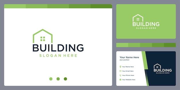 Szablon projektu logo budynku nieruchomości i projekt wizytówki.