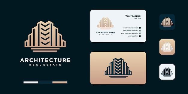 Szablon projektu logo budynku z szablonem projektu logo w kolorze złotym.