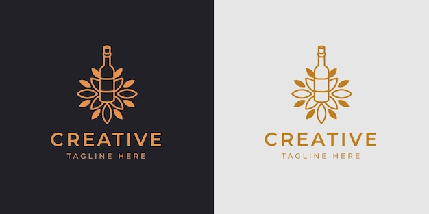Szablon projektu logo butelki winnicy ilustracja wektorowa butelki winnicy z liśćmi vintage nowoczesna ikona linii design