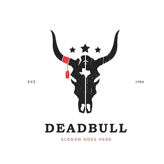 Szablon projektu logo czaszki byka głowa byka w stylu vintage z logo texas i gwiazda
