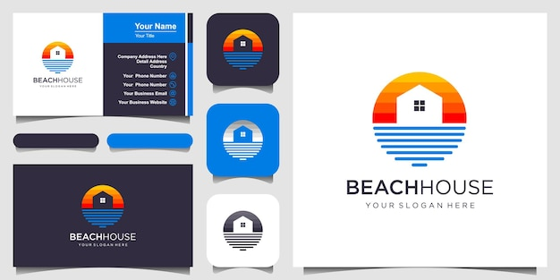 Szablon projektu logo domu na plaży