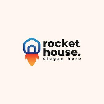 Szablon projektu logo domu rakietowego - logo firmy aplikacji i technologii