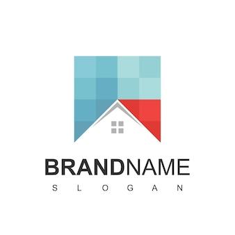 Szablon projektu logo domu. znak koloru pikseli. uniwersalna ikona wektor