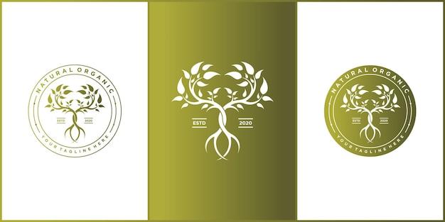 Szablon projektu logo drzewa z nowoczesnym stylem kolorów gradientów premium vekto