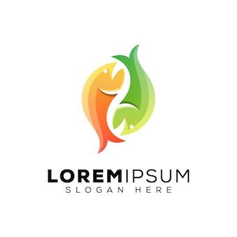 Szablon projektu logo dwa nowoczesne jedzenie ryb