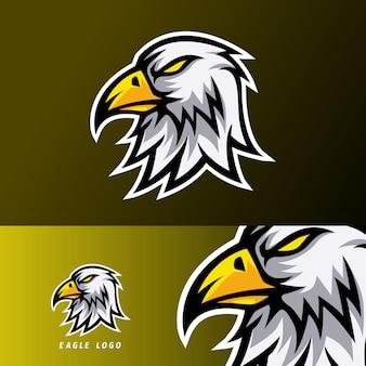 Szablon projektu logo e-sport eagle z białym futrem i pomarańczowym dziobem