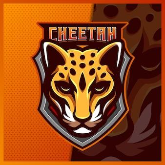 Szablon projektu logo e-sport maskotka gepard