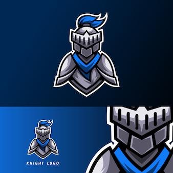 Szablon projektu logo e-sport niebieski rycerz ze zbroją i hełmem