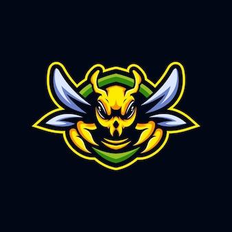 Szablon projektu logo e-sportu pszczół maskotka