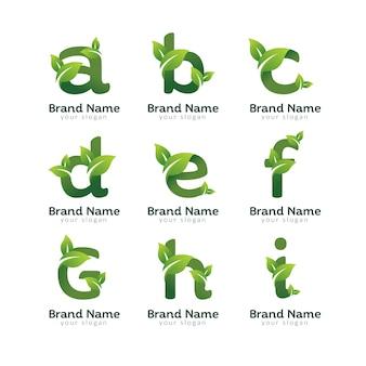 Szablon projektu logo eko zielony list paczka